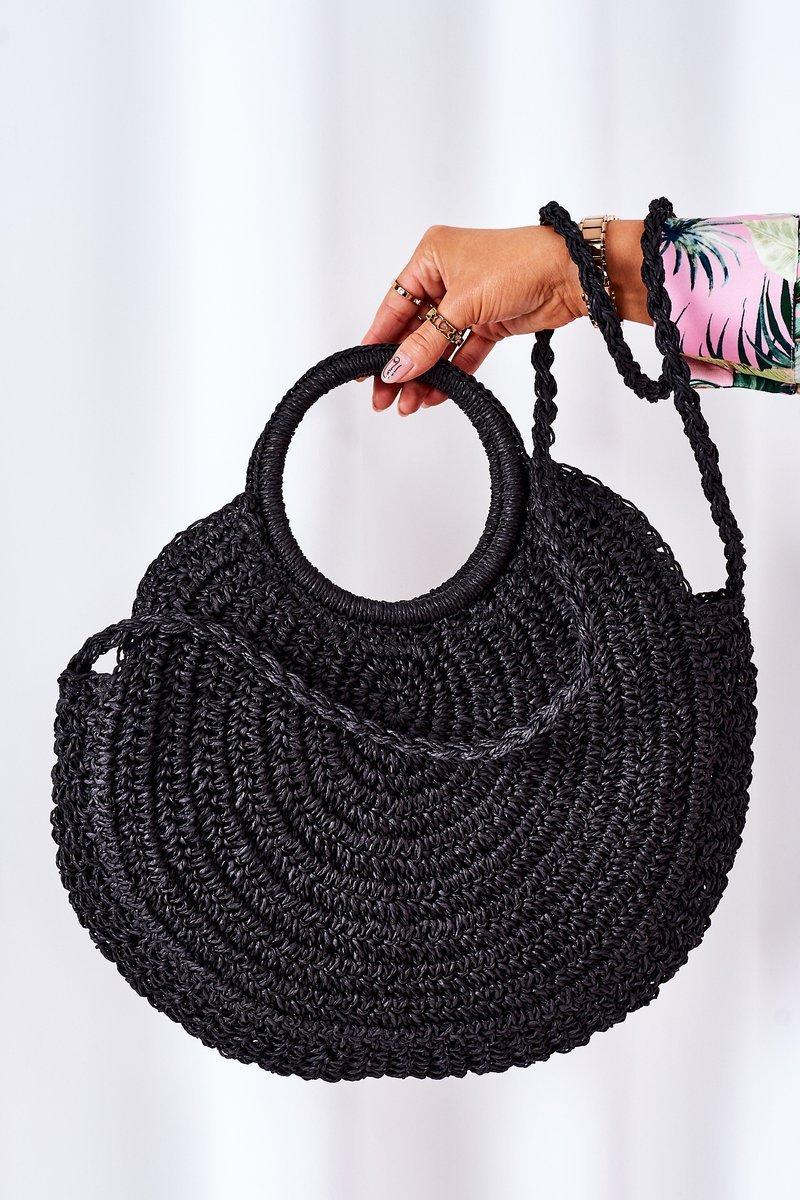 Braided Round Bag BRUNO ROSSI Black