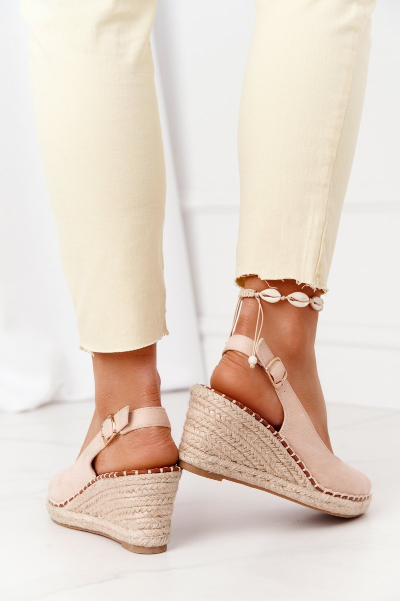 Braided Wedge Sandals Beige Las Palomas