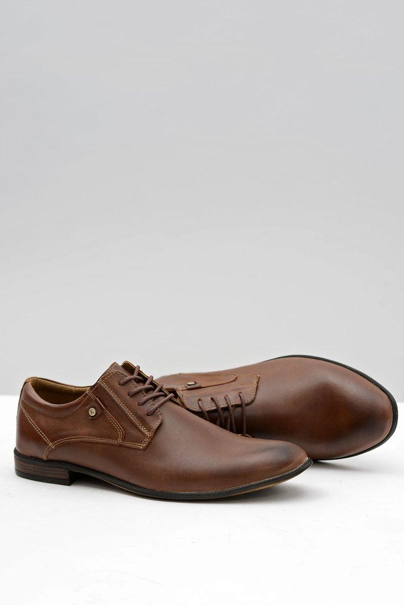 Brown Leather Elegant Walking Shoes Massimiliano