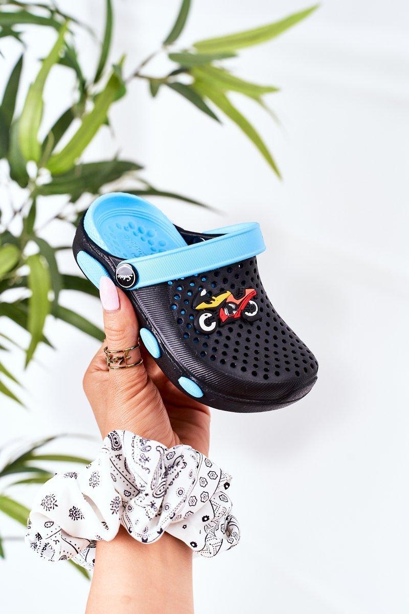 Children's Foam Slippers Crocs Black-Blue Oliver