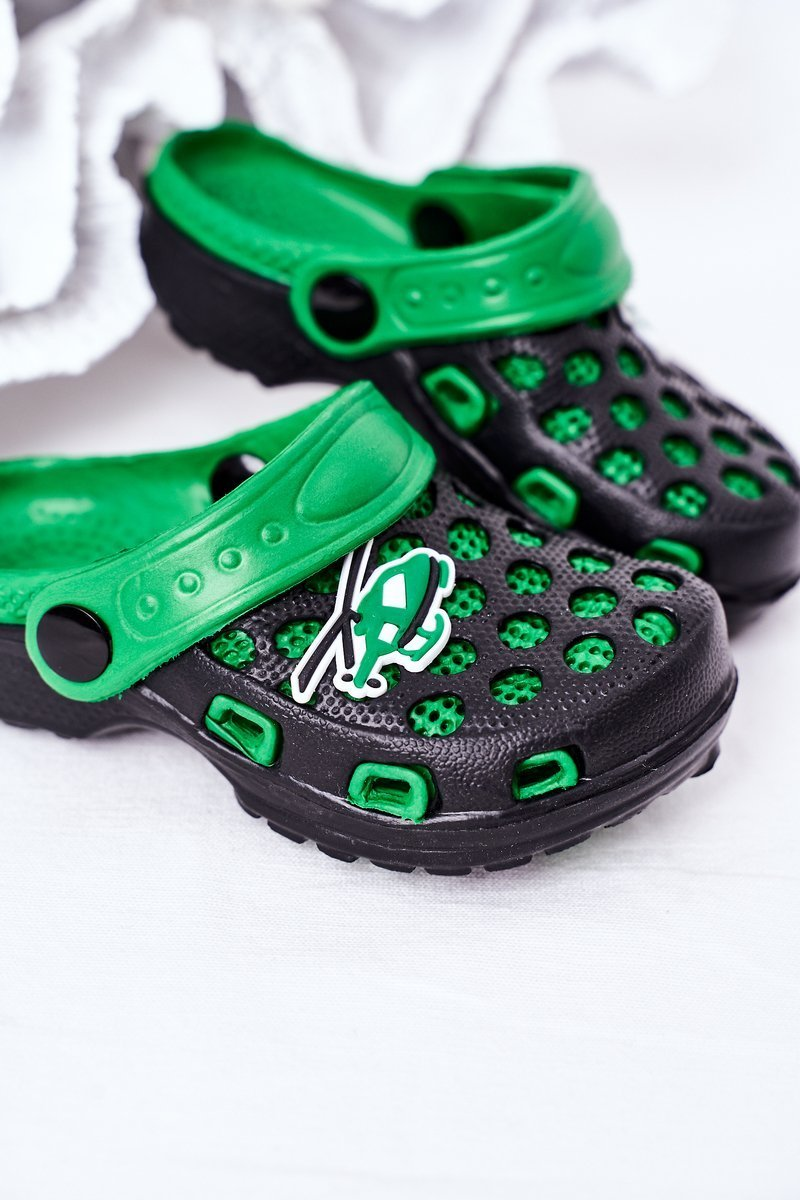 Children's Foam Slippers Crocs Black-Green Jupiter