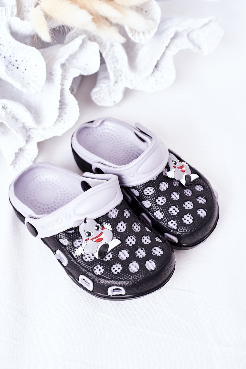 Children's Foam Slippers Crocs Black-Grey Jupiter