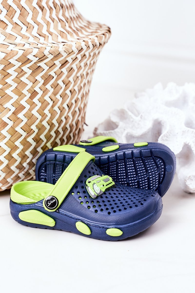 Children's Foam Slippers Crocs Navy Blue-Green Oliver