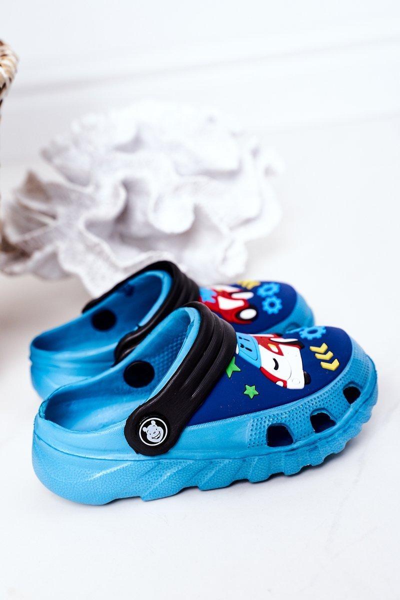 Children's Foam Slippers With A Car Blue-Black