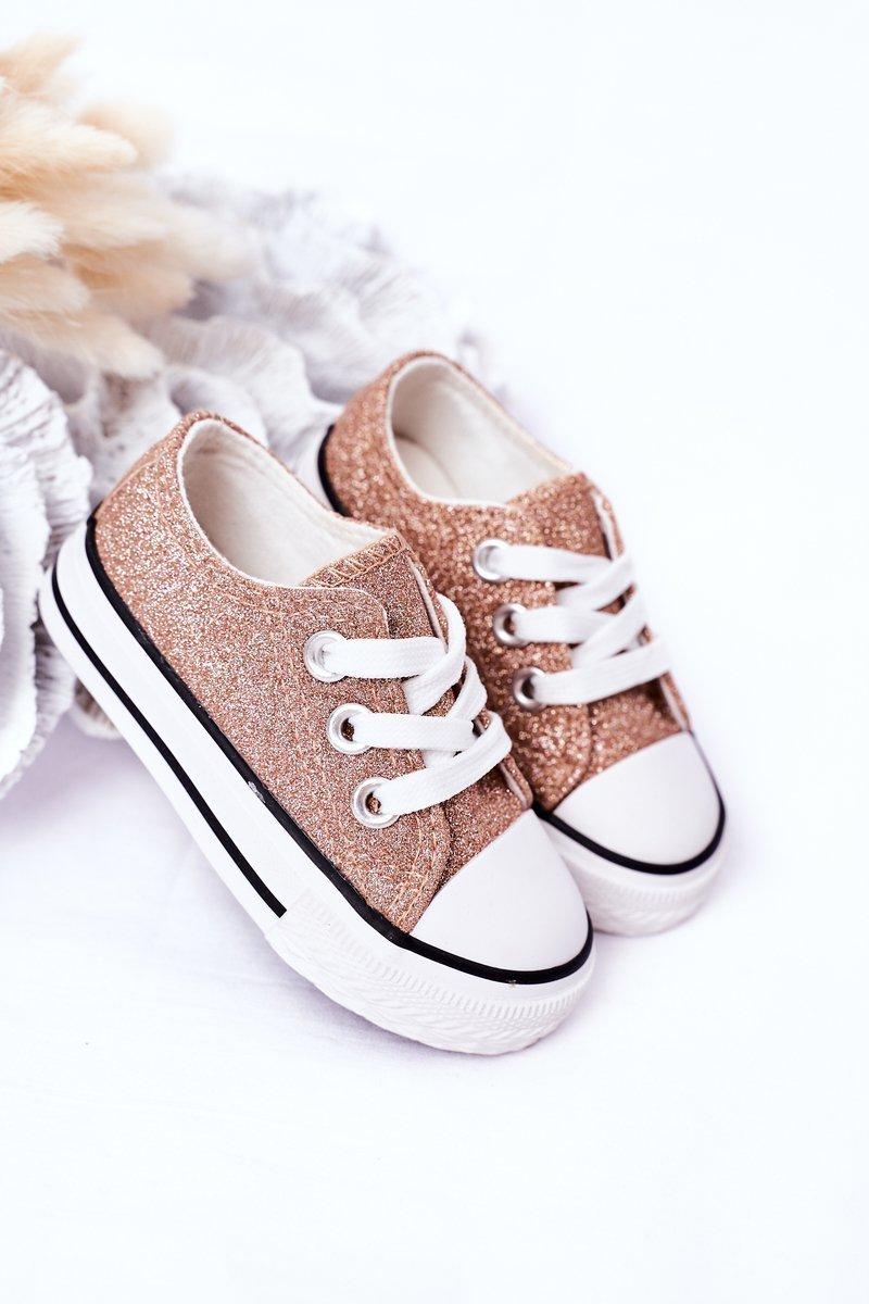 Children's Glitter Sneakers Rose Gold Bling-Bling