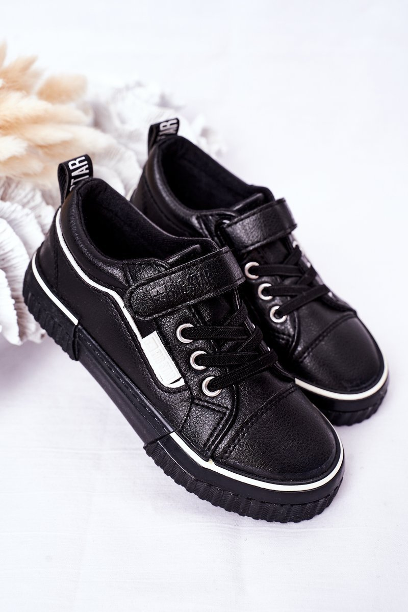 Children's Leather Sneakers With Velcro BIG STAR HH374029 Black