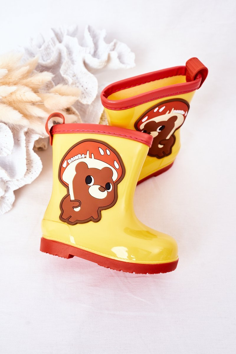 Children's Rain Boots With A Bear Yellow