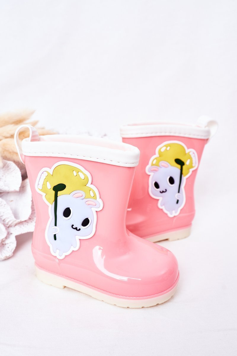Children's Rain Boots With A Bunny Pink