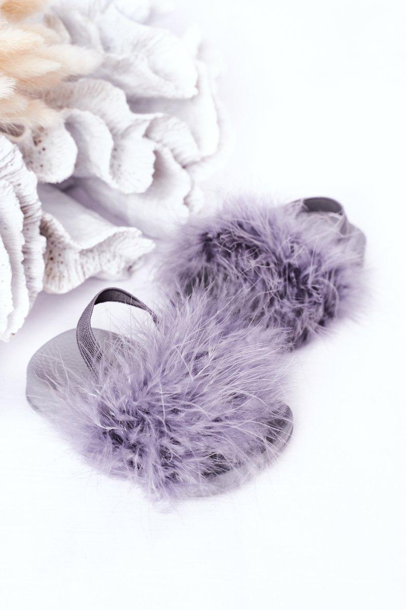 Children's Rubber Slippers With Eco Fur Light Grey Skylar