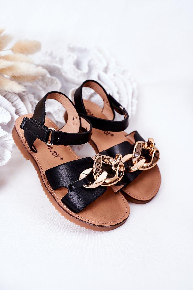 Children's Sandals With Chain Black Buffy