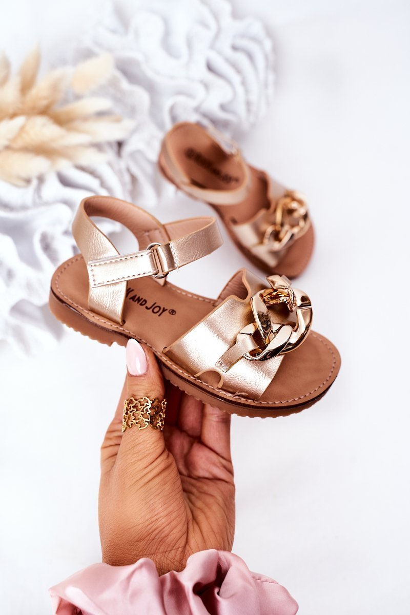 Children's Sandals With Chain Gold Buffy