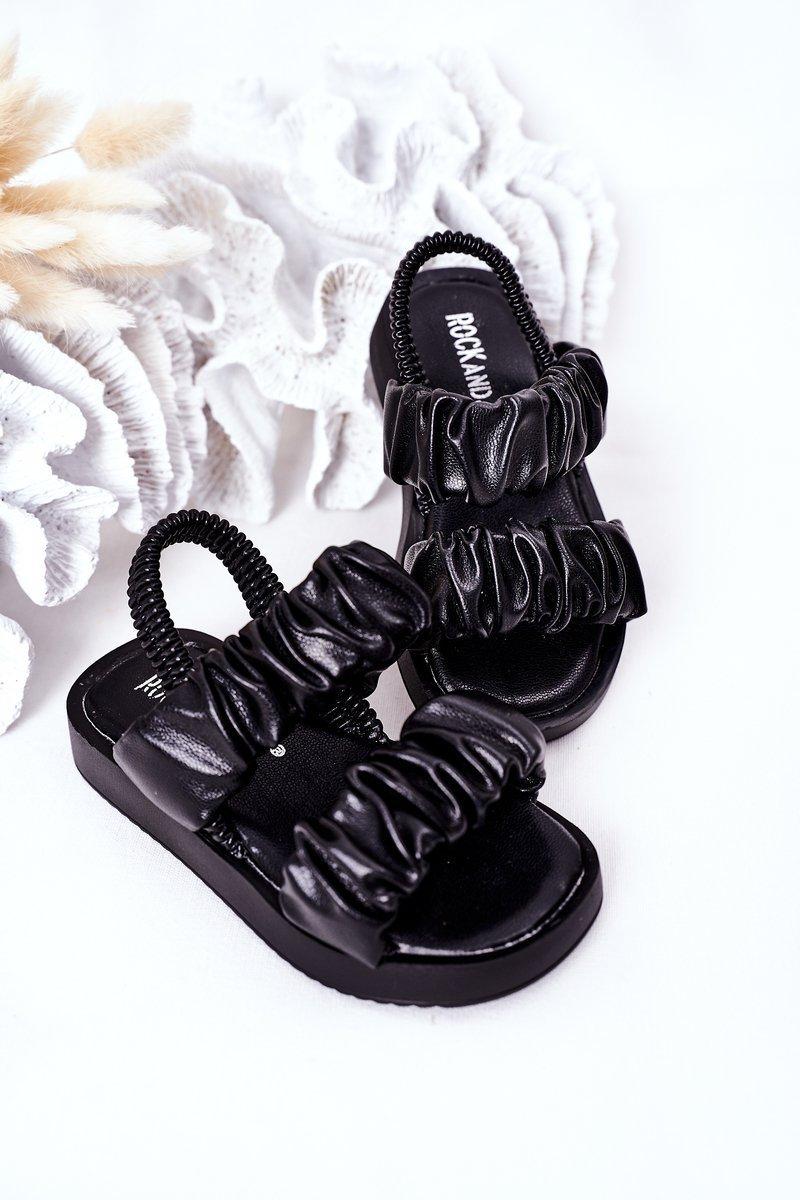 Children's Sandals With Drawstring Black Sweetness