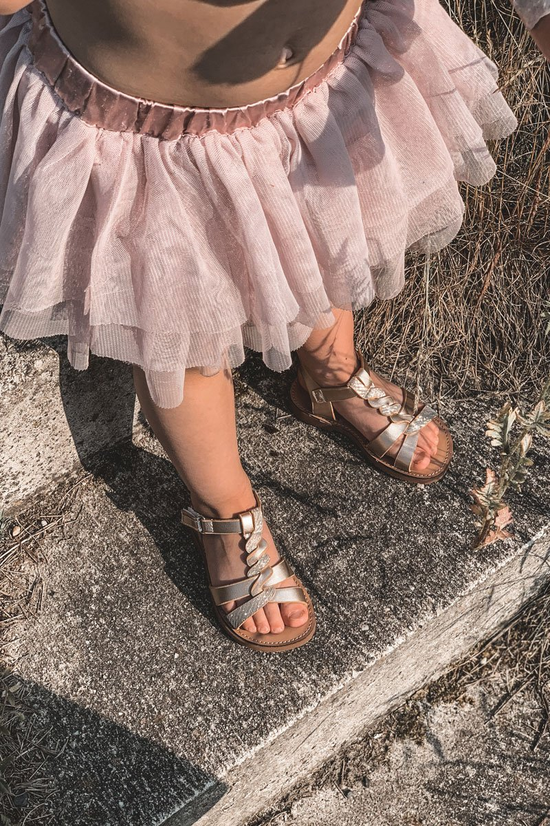 Children's Sandals With Glitter Gold Batilda