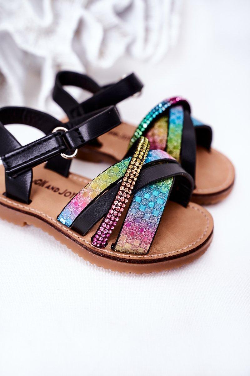 Children's Sandals With Sequins Black Becky