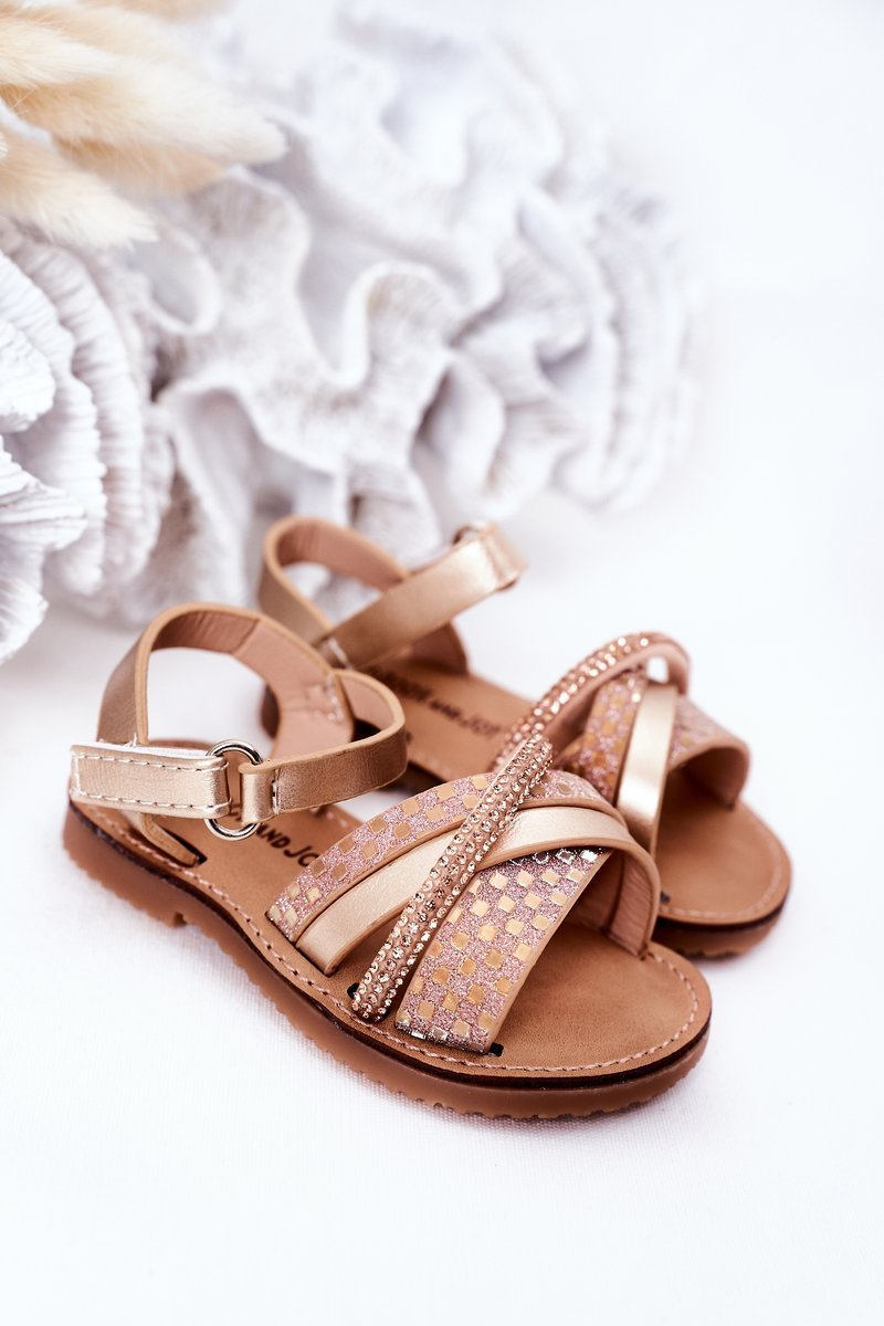 Children's Sandals With Sequins Gold Becky
