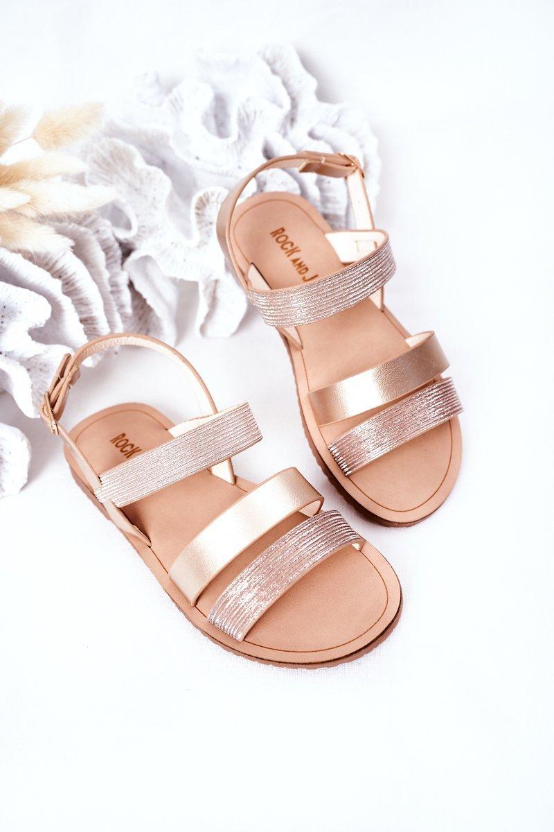Children's Shiny Sandals Champagne Natalie