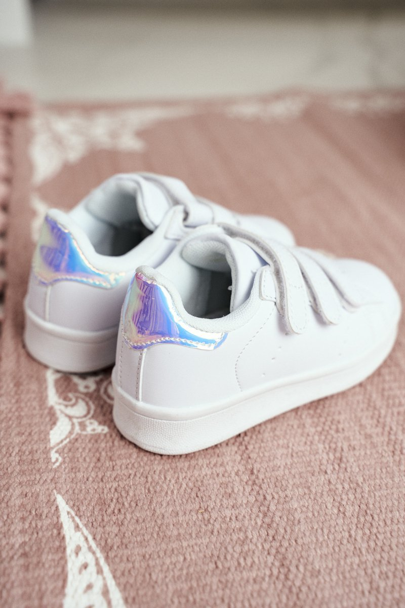 Children's Sport Shoes With Bur White Silver Fifi