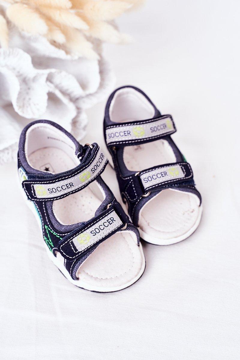 Children's Velcro Sandals Navy Soccer