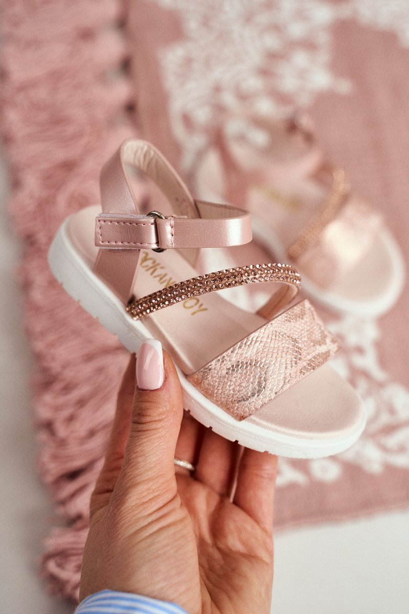 Child's Sandals For Girls Snake Pattern Pink Lilo