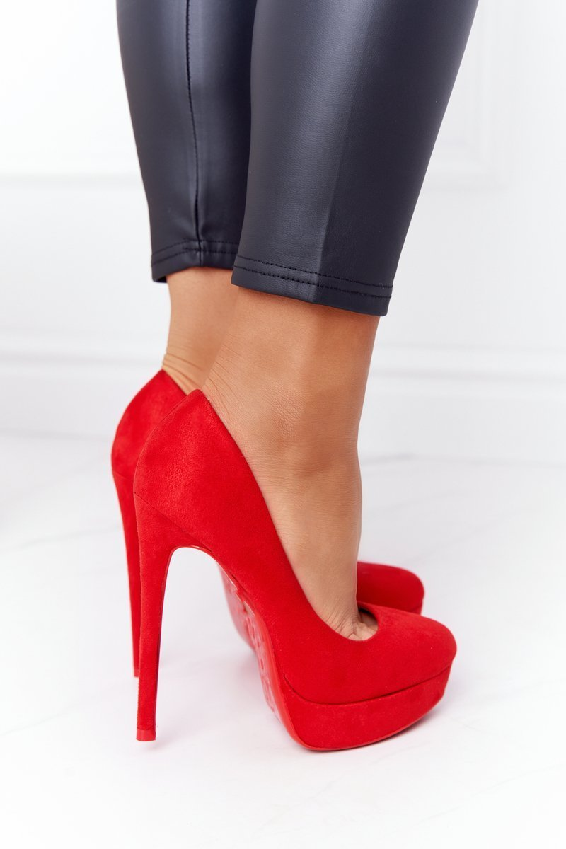 Classic Suede High Heels Red Margharita