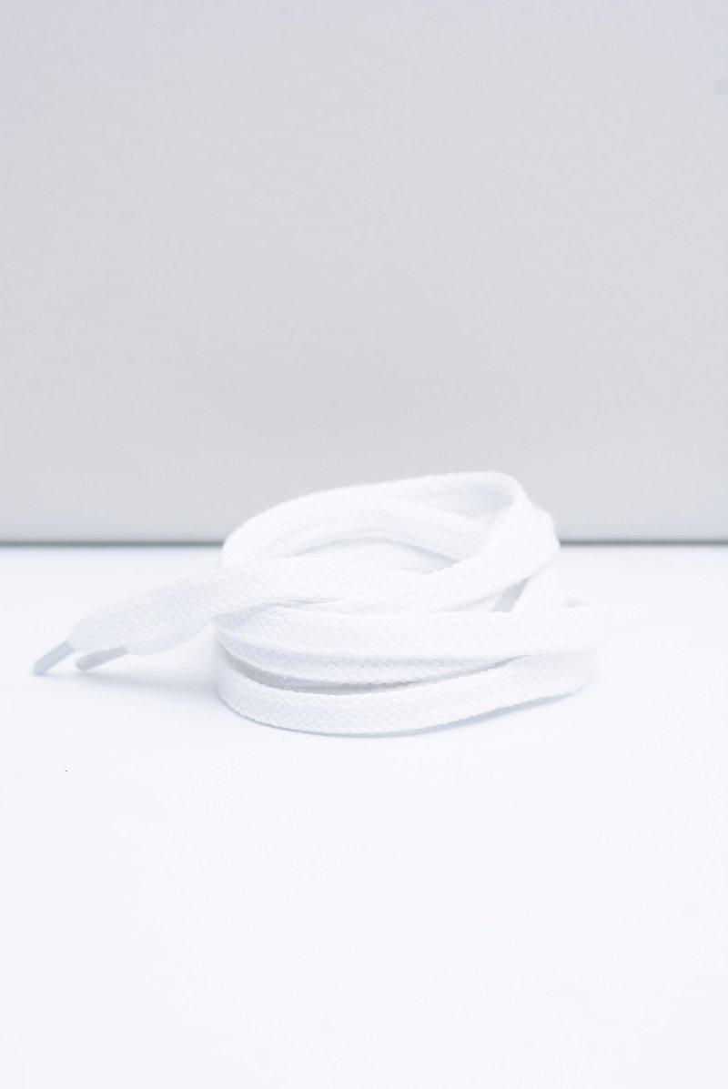 Corbby White Flat Shoelaces