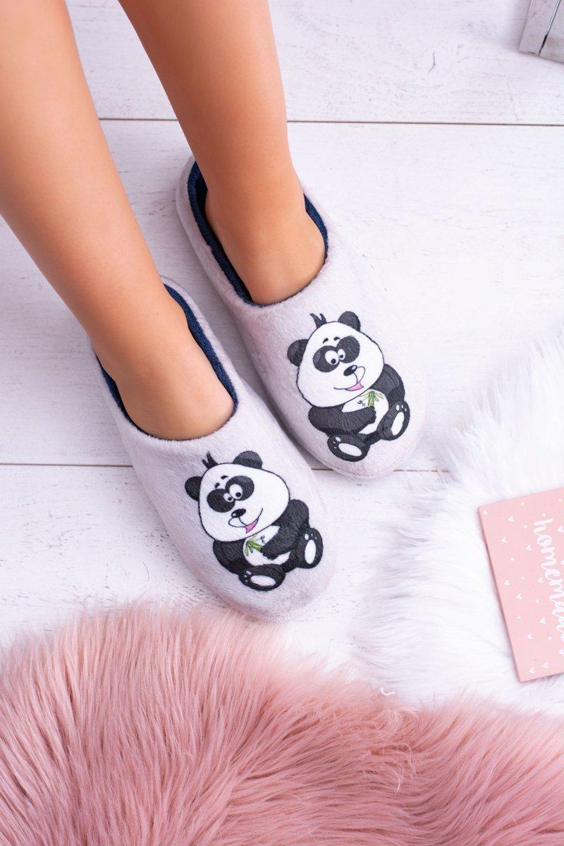 Dreex Women's Plush Slippers Grey Panda