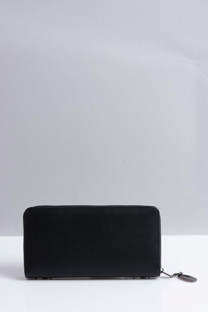 Duży Damski Czarny Portfel z Ćwiekami