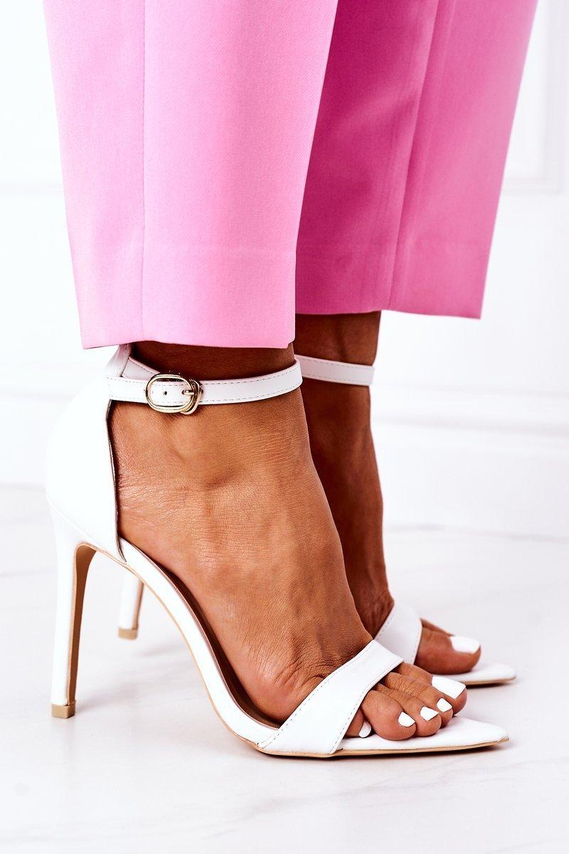 Elegant Sandals On High Heel Lu Boo White