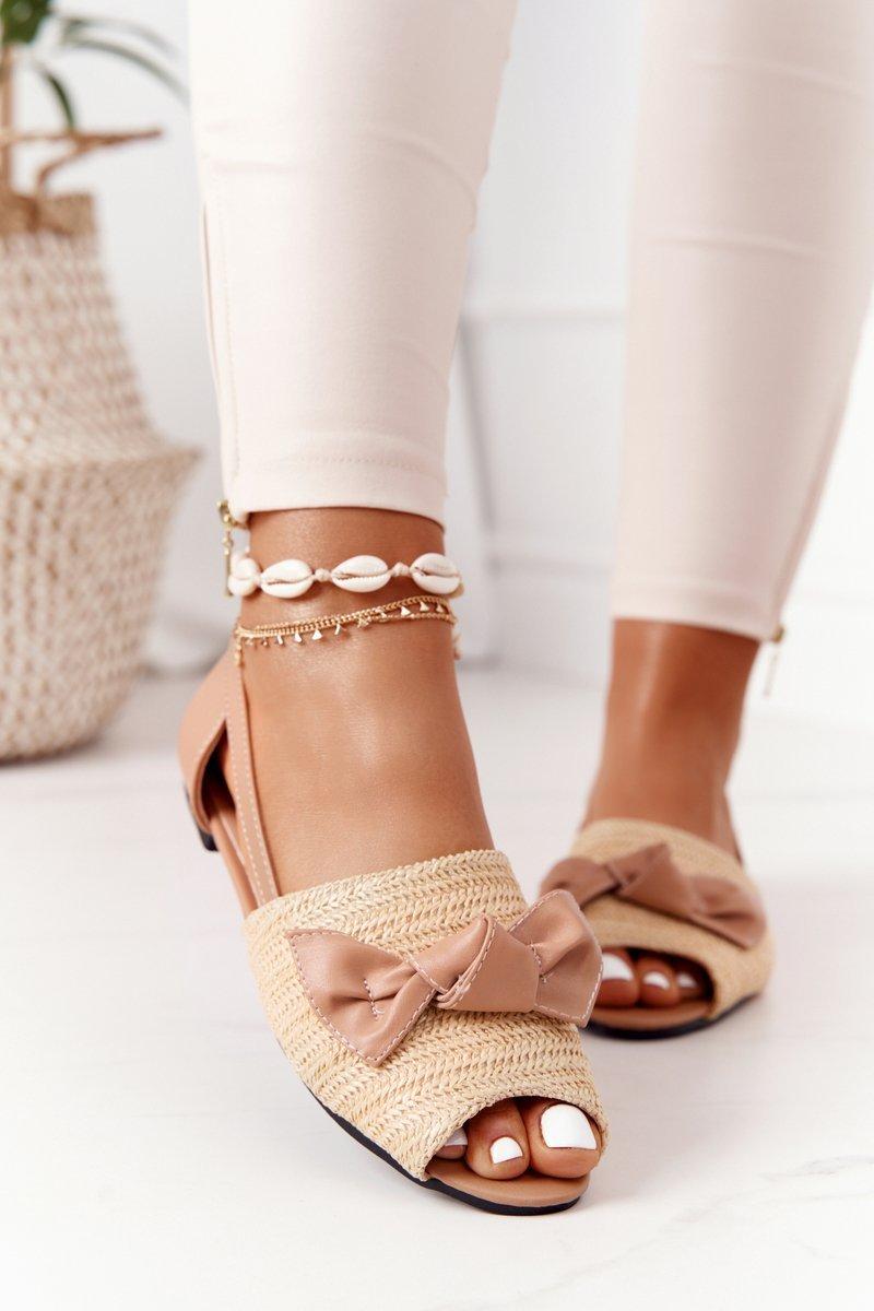 Flat Braided Sandals Lu Boo Beige