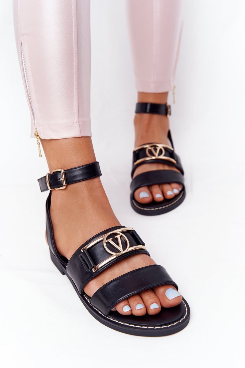 Flat Leather Sandals Black On Time