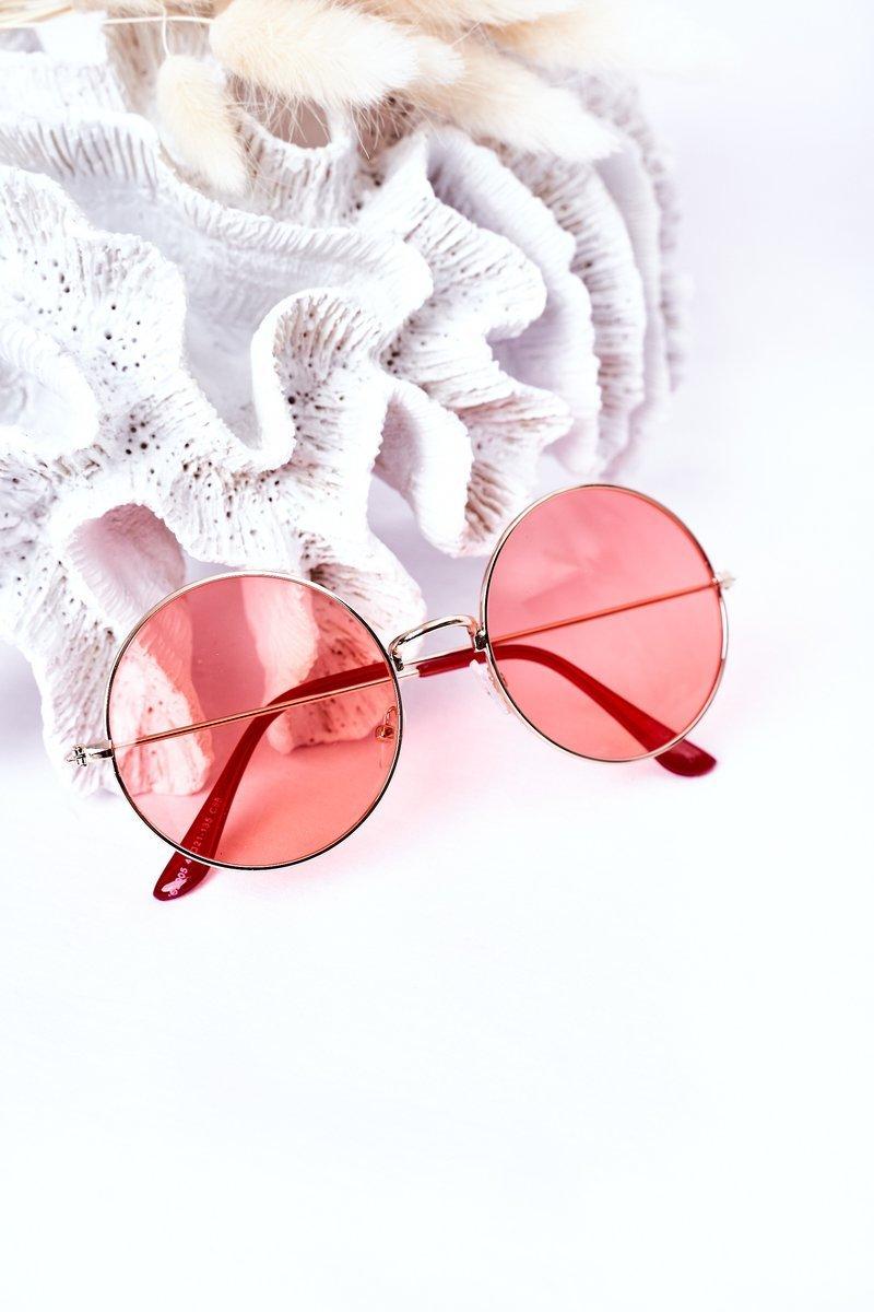 Gold Lennon Sunglasses With Red Lenses