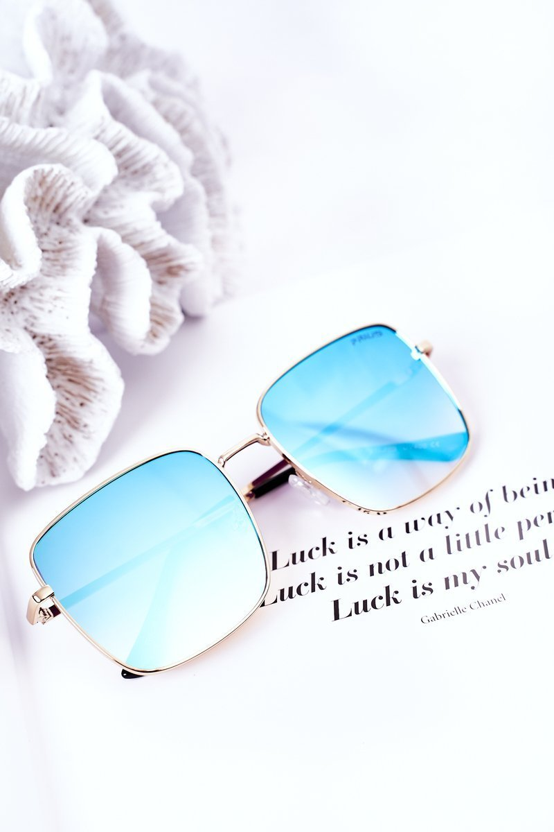 Gold Square Sunglasses With Blue Ombre Lenses