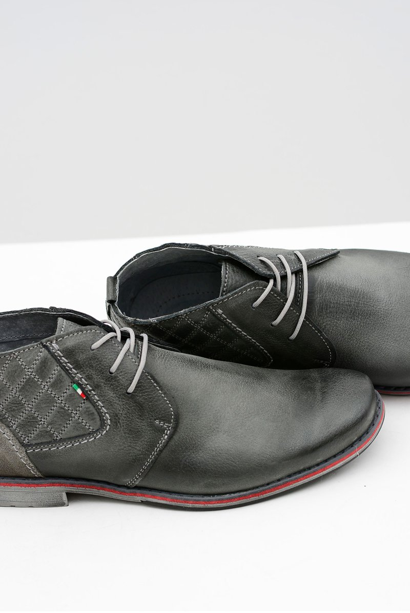 Grey Leather Men Brogues Graziano