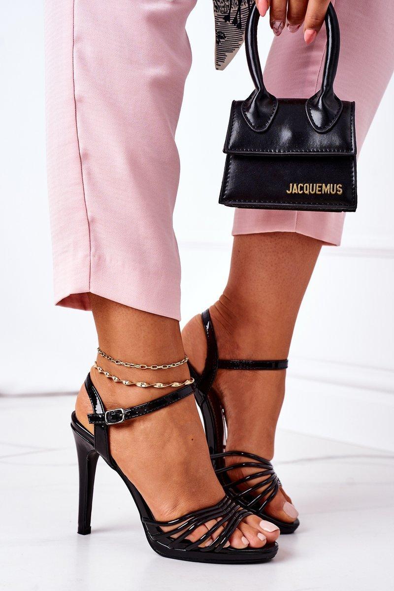 High Heel Sandals Patent Black Katie