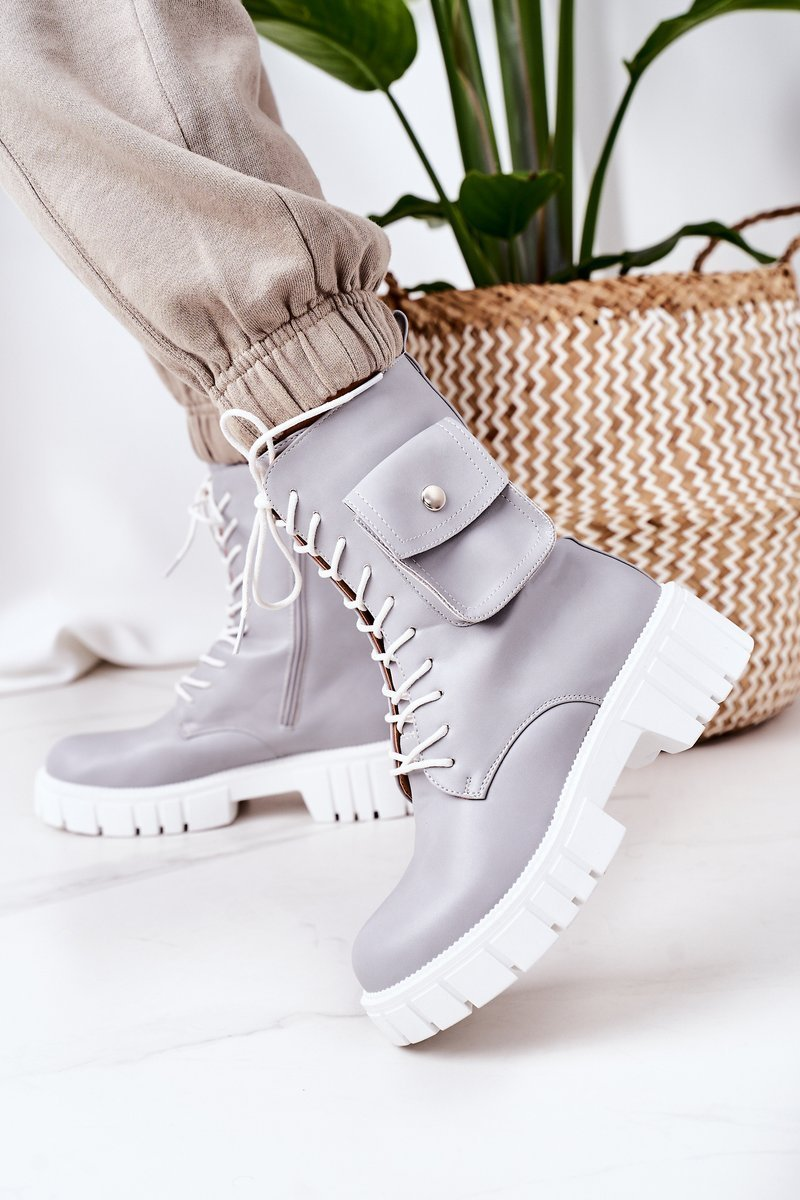 Insulated Boots With A Pocket Light Grey Awesome