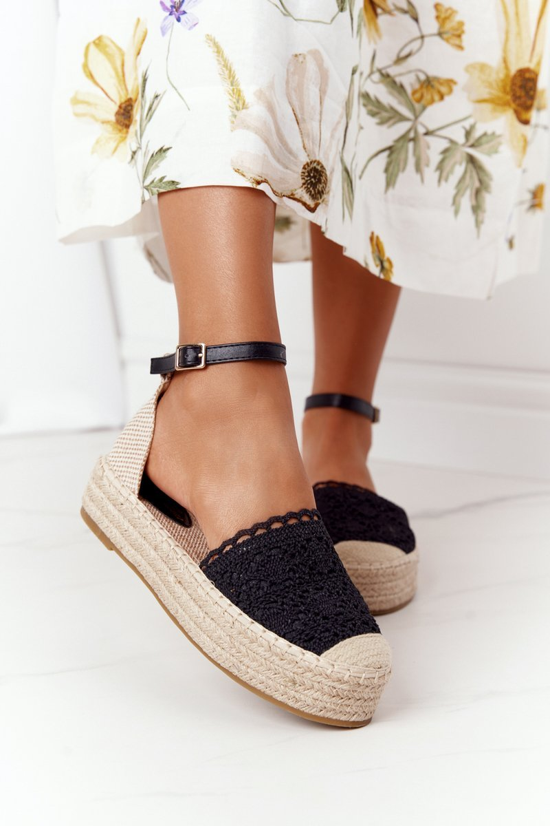 Lace Espadrilles On A Braided Platform Black Larisa