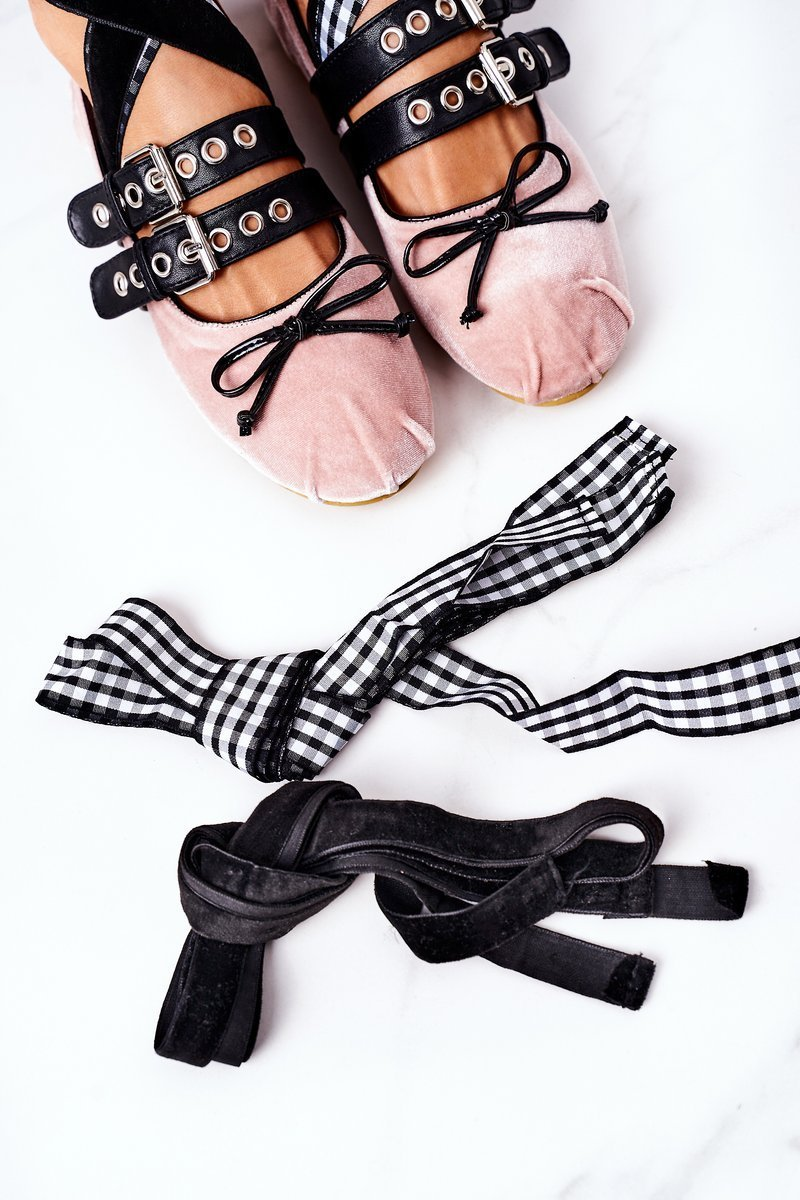 Lace-up Velor Ballerinas Lu Boo Pink