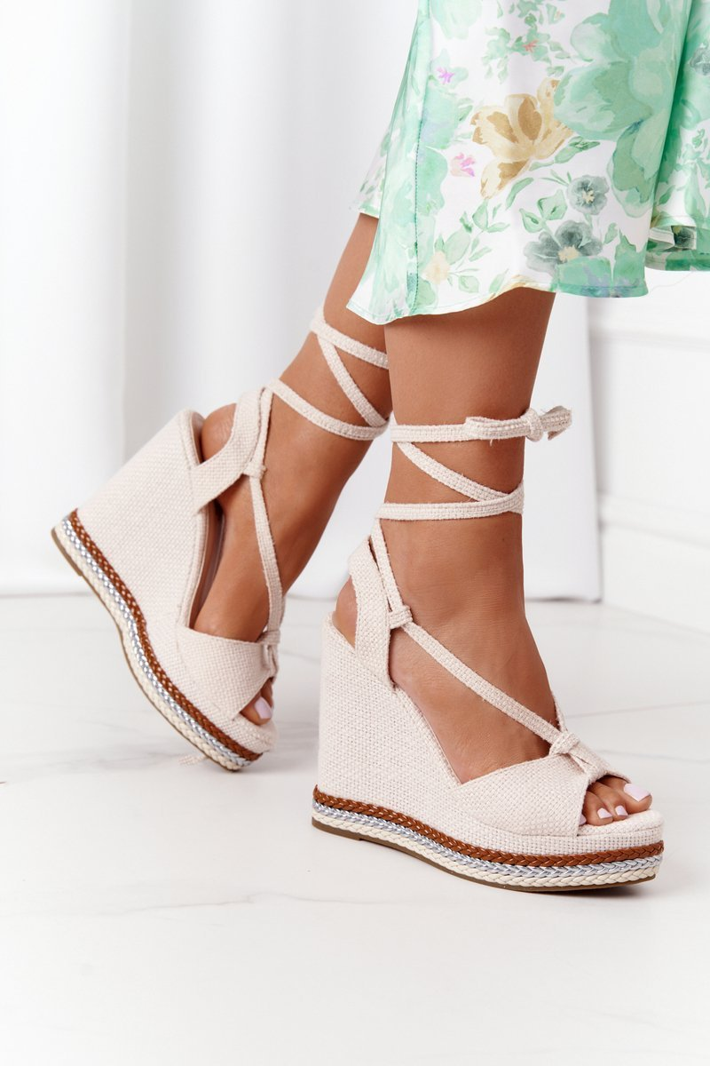 Lace-up Wedge Sandals Beige Hawaii