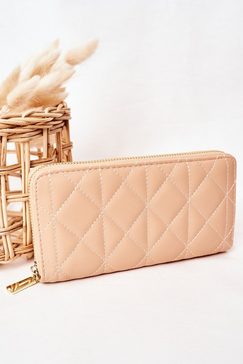 Large Quilted Women's Wallet Beige