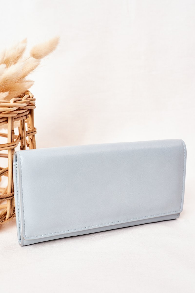 Large Women's Wallet With A Magnet Light Blue