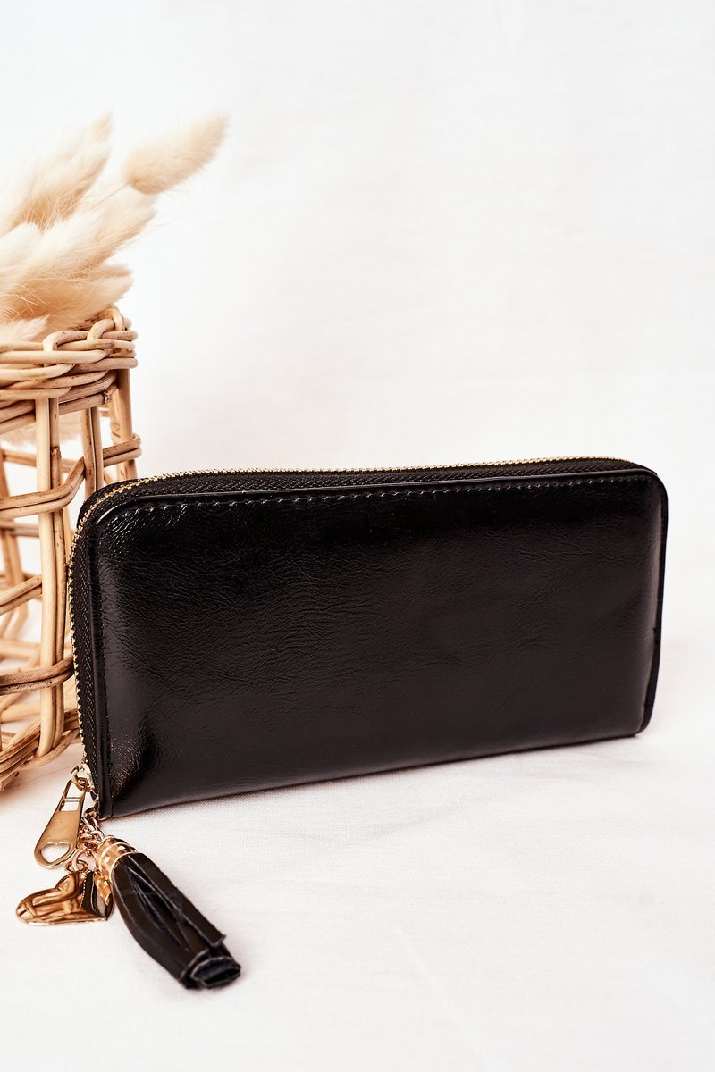 Large Women's Wallet With A Pendant Black