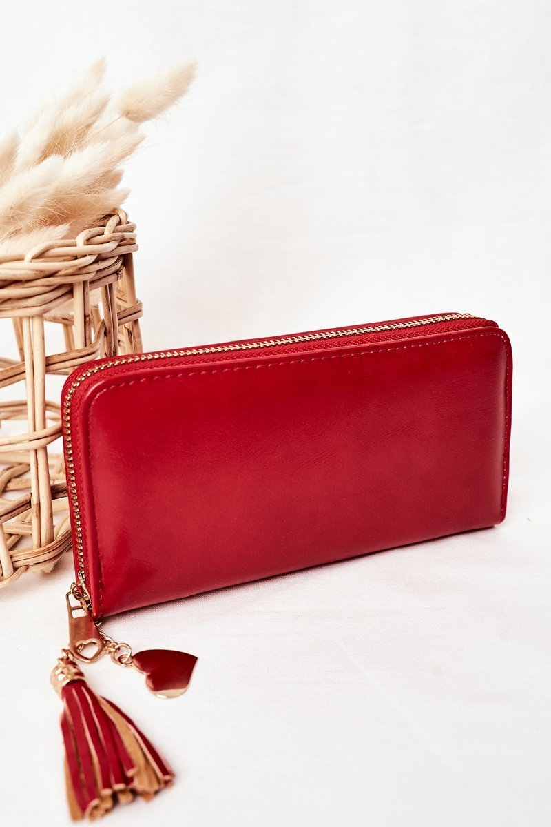 Large Women's Wallet With A Pendant Red