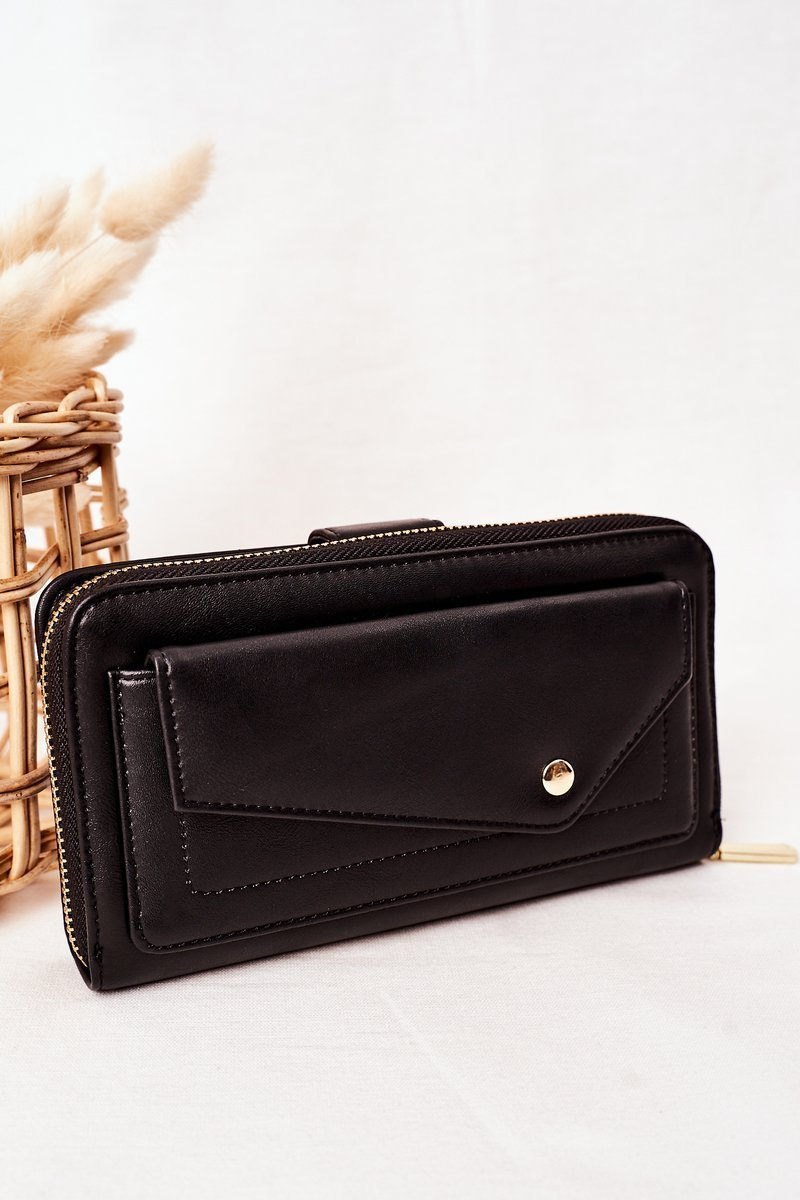 Large Women's Wallet With A Pocket Black