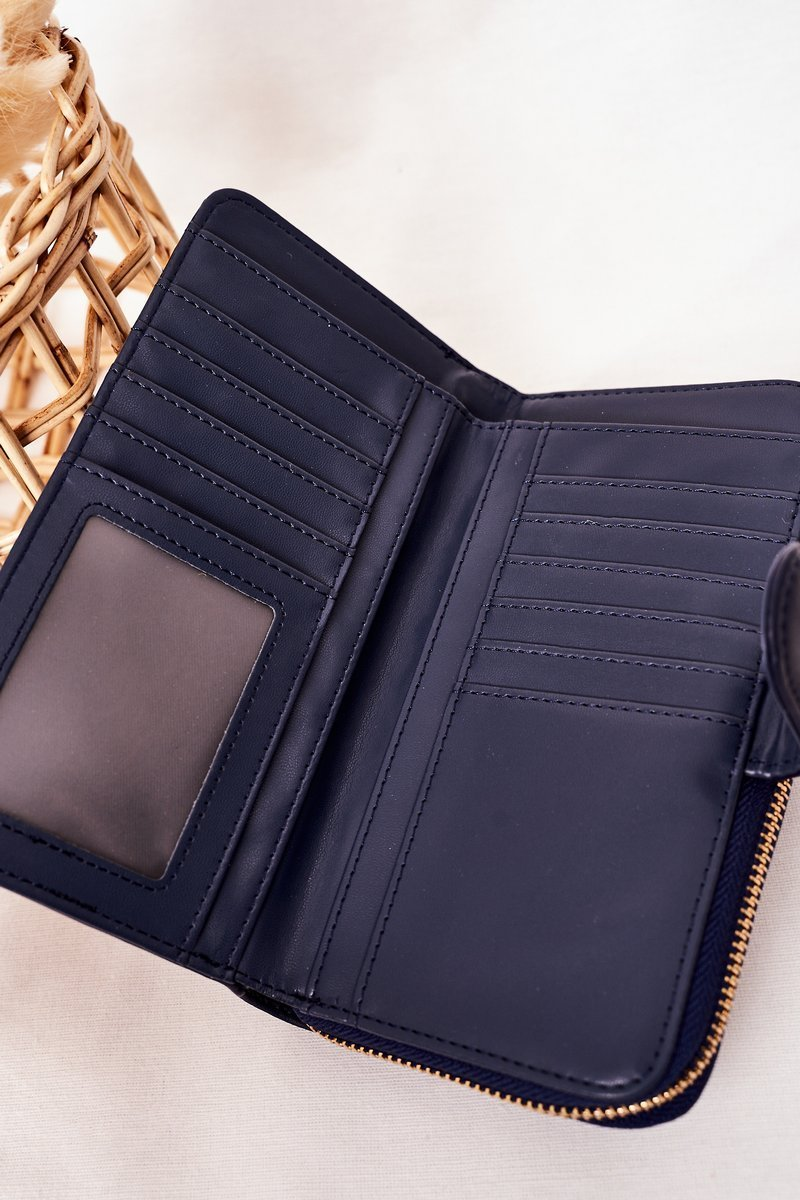 Large Women's Wallet With A Pocket Navy Blue