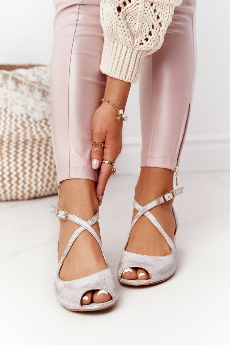 Leather High Heel Sandals Maciejka 04509-45 Beige-Gold
