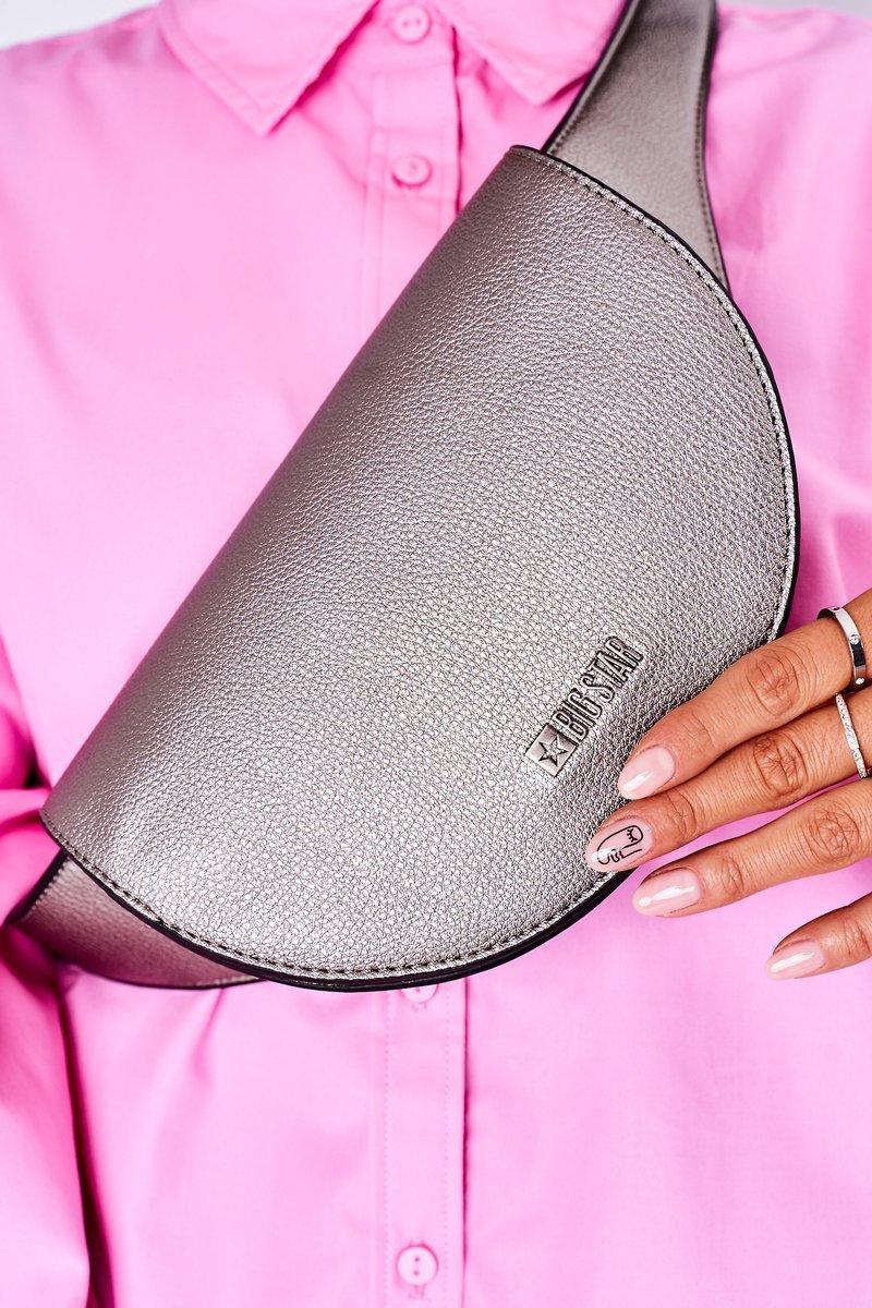 Leather Kidney Bag Big Star HH574076 Silver