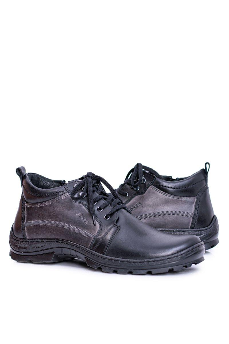 Leather Men's Boots Warm Black Felgado