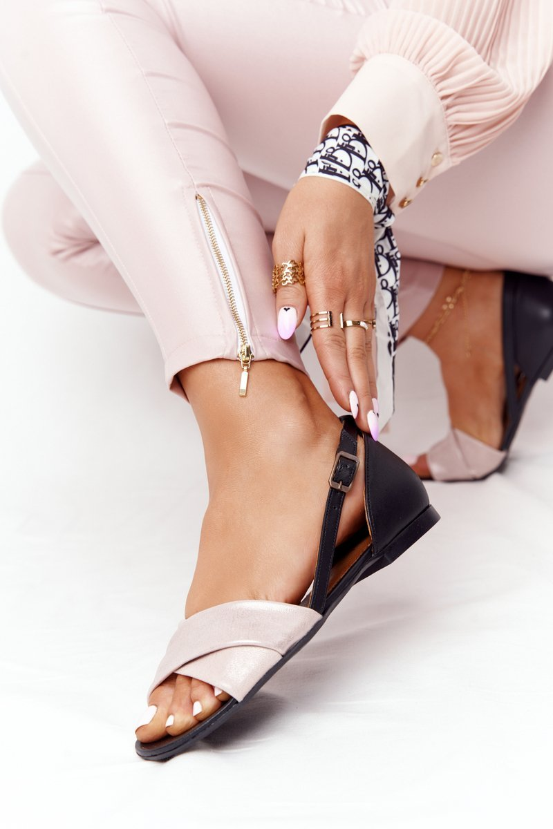 Leather Metallic Sandals Maciejka 04614-15 Pink-Black