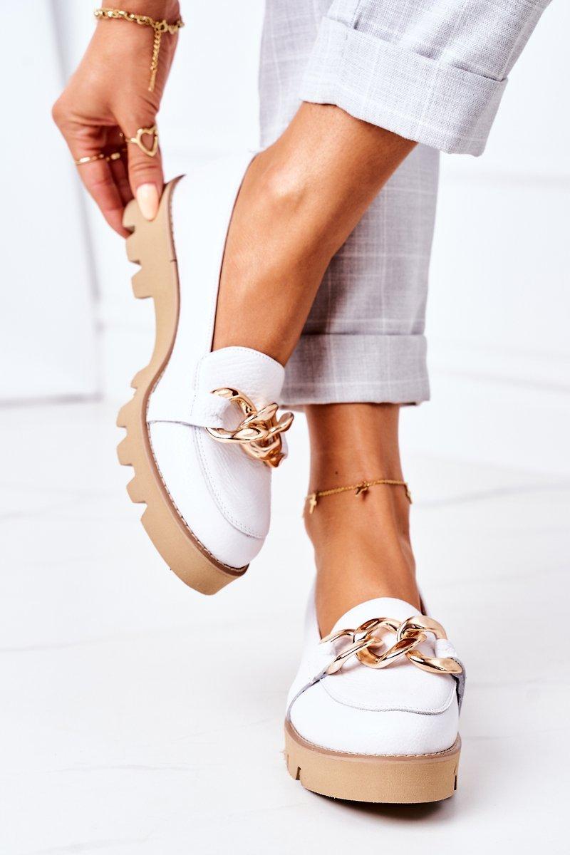 Leather Moccasins Lewski Shoes 3040 White
