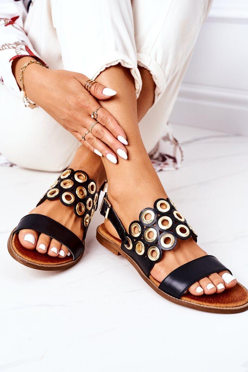 Leather Openwork Sandals Lewski Shoes 3042 Black